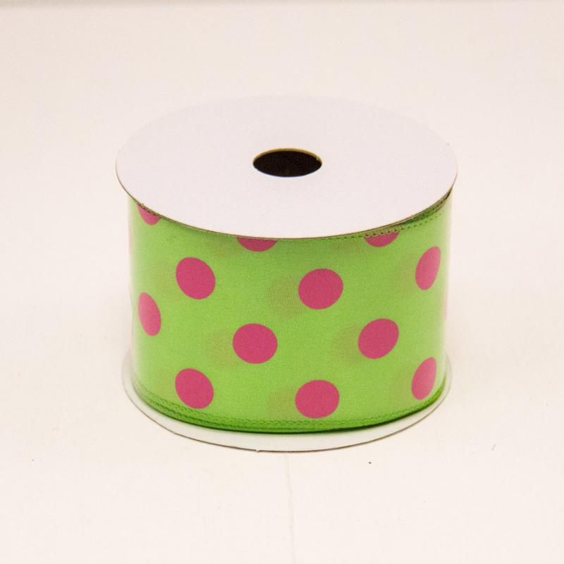 2 1/2 in. (#40) Lime & Fuchsia Polka Dot Satin Ribbon