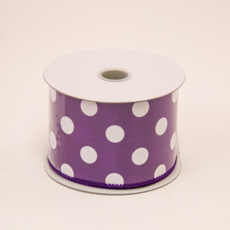 2 1/2 in. (#40) Purple & White Polka Dot Satin Ribbon
