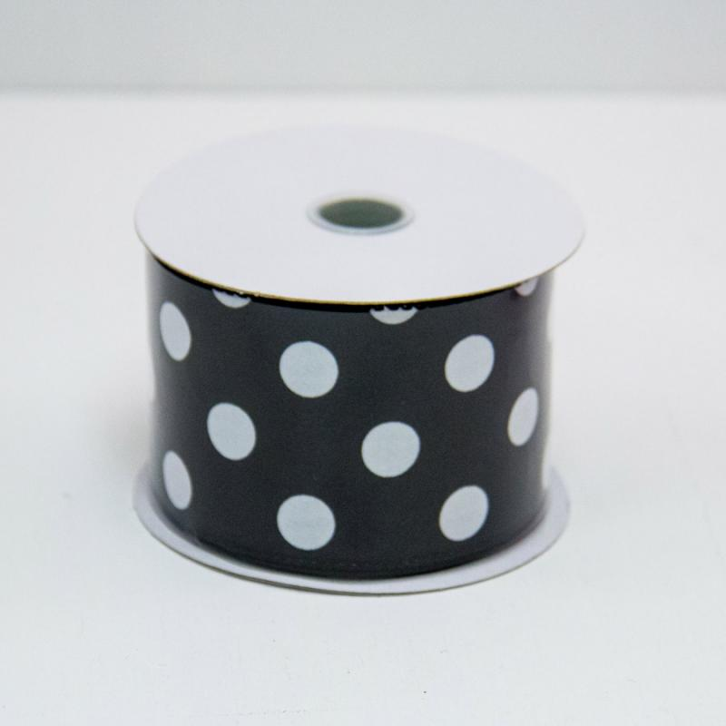 2 1/2 in. (#40) Black & White Polka Dot Satin Ribbon