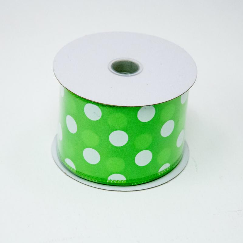 2 1/2 in. (#40) Lime & White Polka Dot Satin Ribbon