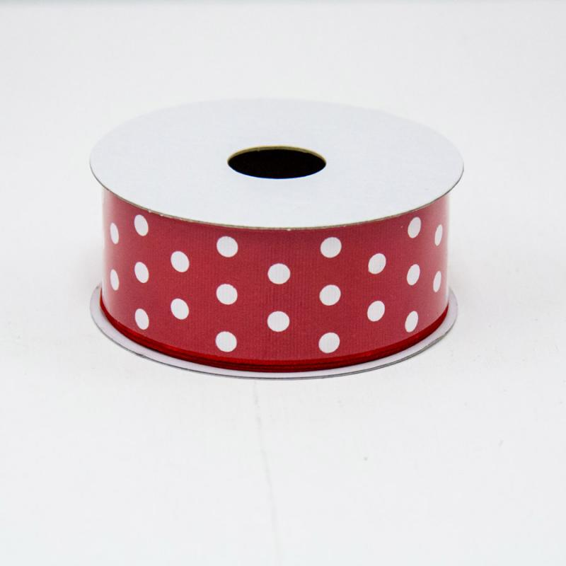 1 1/2 in. (#9) Red & White Polka Dot Ribbon