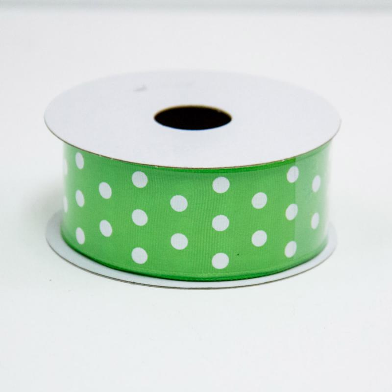 1 1/2 in. (#9) Lime & White Polka Dot Ribbon