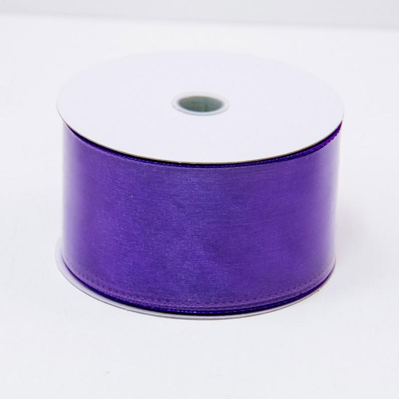 2 1/2 in. (#40) Purple Wired Edge Sheer Ribbon