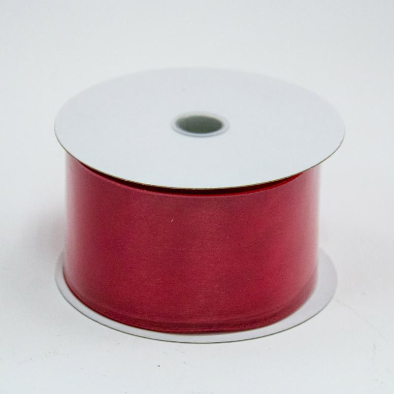 2 1/2 in. (#40) Red Wired Edge Sheer Ribbon