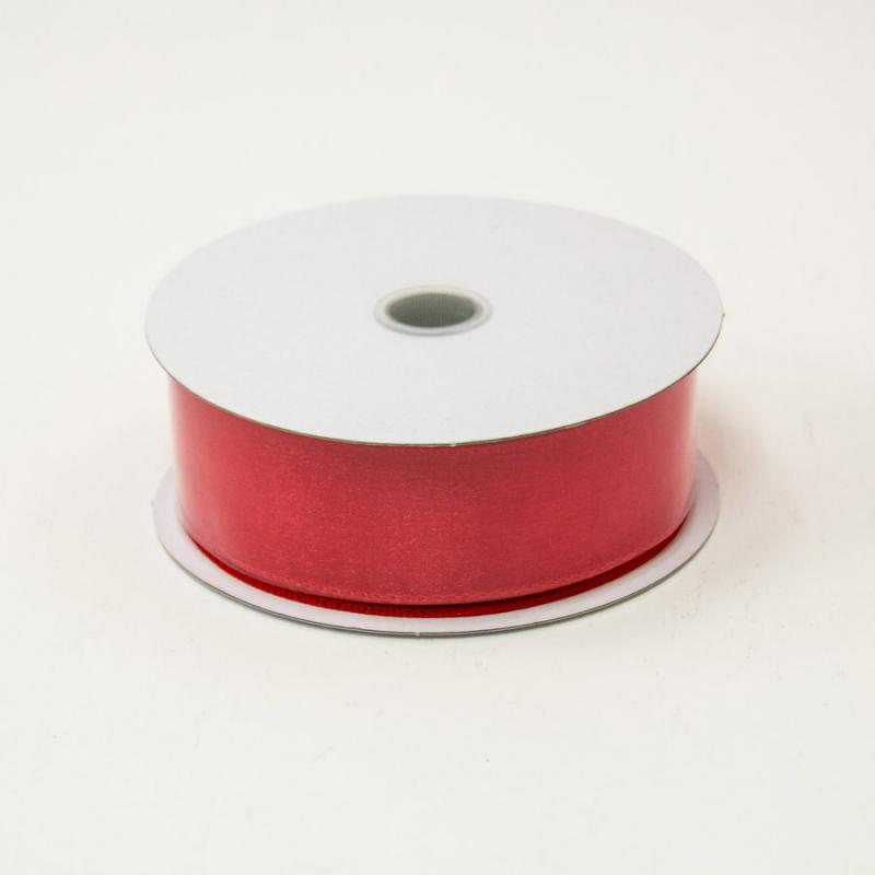 1 1/2 in. (#9) Red Wired Edge Sheer Ribbon