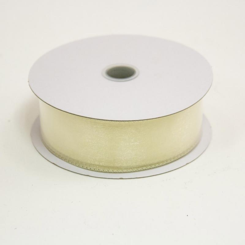 1 1/2 in. (#9) Ivory Wired Edge Sheer Ribbon