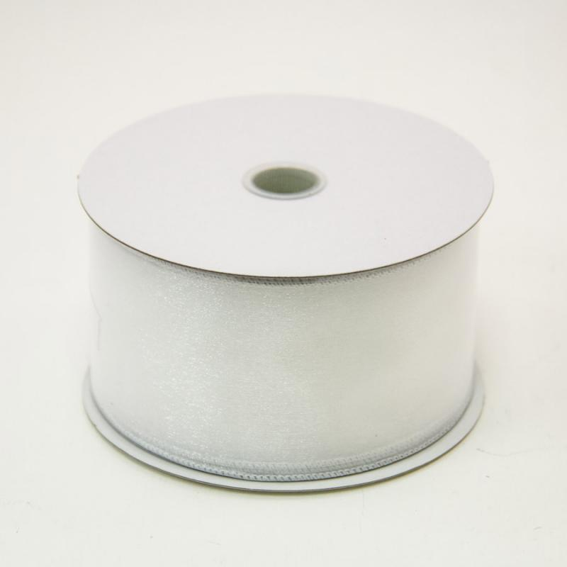 2 1/2 in. (#40) White Wired Edge Sheer Ribbon