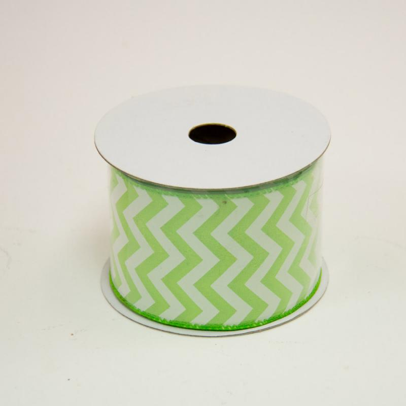 2 1/2 in. (#40) Lime & White Chevron Satin Ribbon