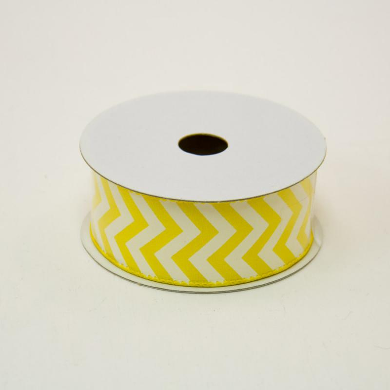1 1/2 in. (#9) Daffodil & White Chevron Satin Ribbon