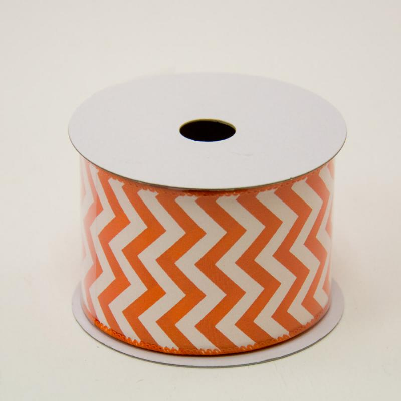 2 1/2 in. (#40) Orange & White Chevron Satin Ribbon