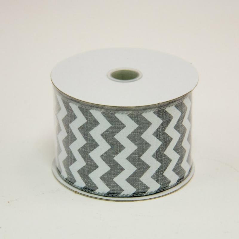 2 1/2 in. (#40) Grey & White Chevron Canvas Ribbon