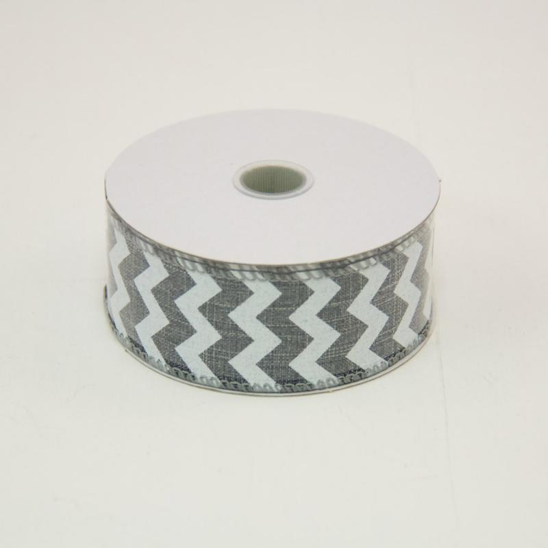 1 1/2 in. (#9) Grey & White Chevron Canvas Ribbon