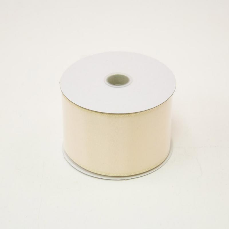2 1/2 in. (#40) Eggshell Wired Edge Satin Ribbon