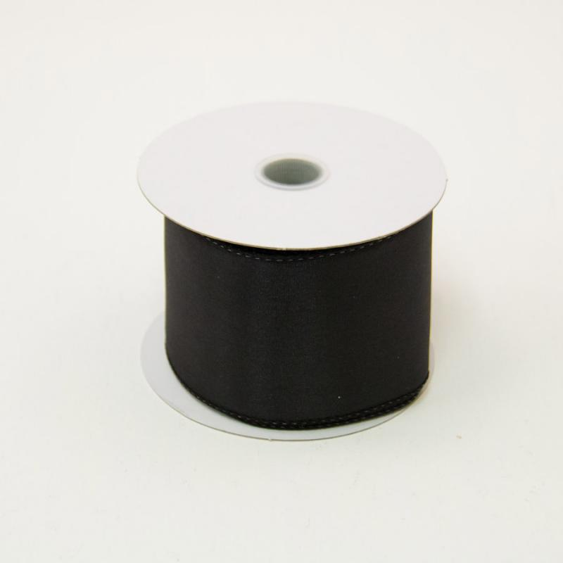 2 1/2 in. (#40) Black Wired Edge Satin Ribbon