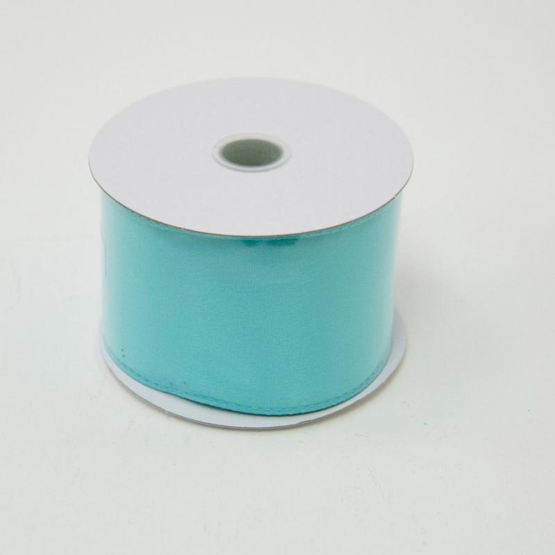 2 1/2 in. (#40) Aqua Wired Edge Satin Ribbon