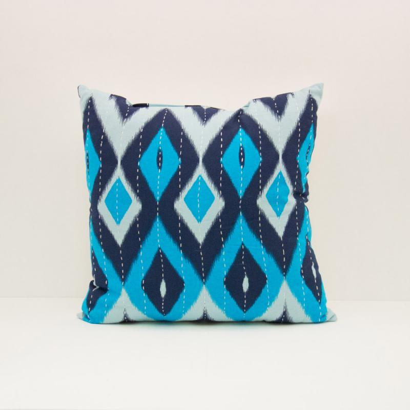 Ikat Pillow - Diamond Blues