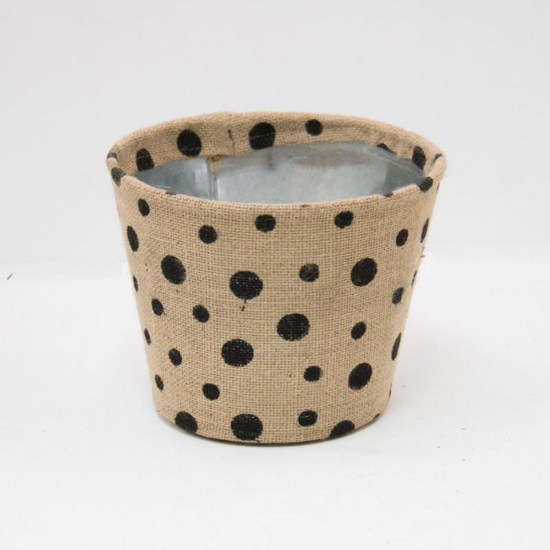 Small Polka Dot Jute Covered Tin Planter - Black