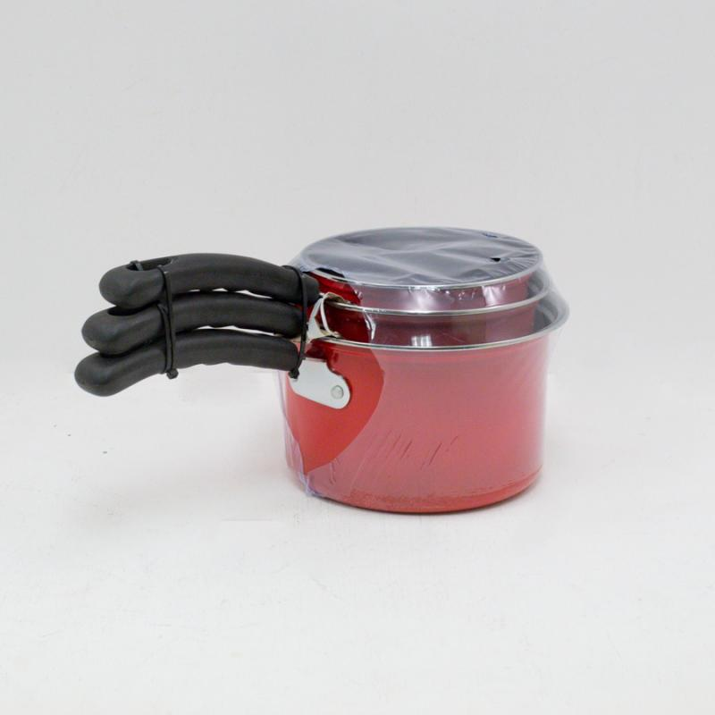 Set of 3 Saucepans - Red
