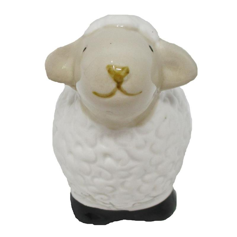 "3"" Ceramic Curly Lamb Figurine - Forward"