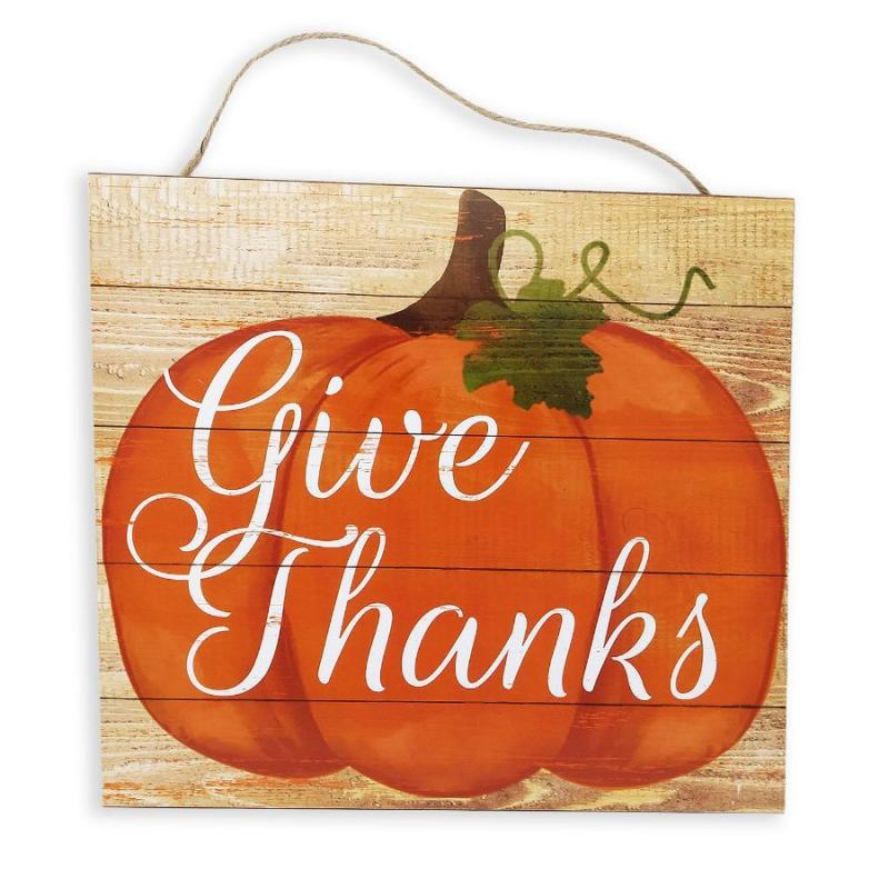 """Give Thanks"" Pumpkin Sign"
