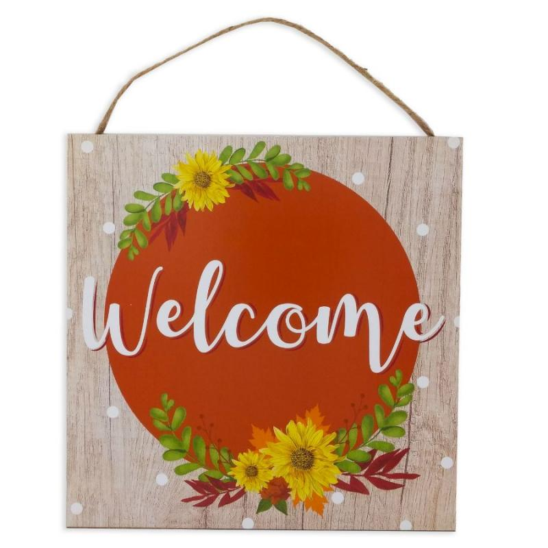 Welcome Floral Circle Sign
