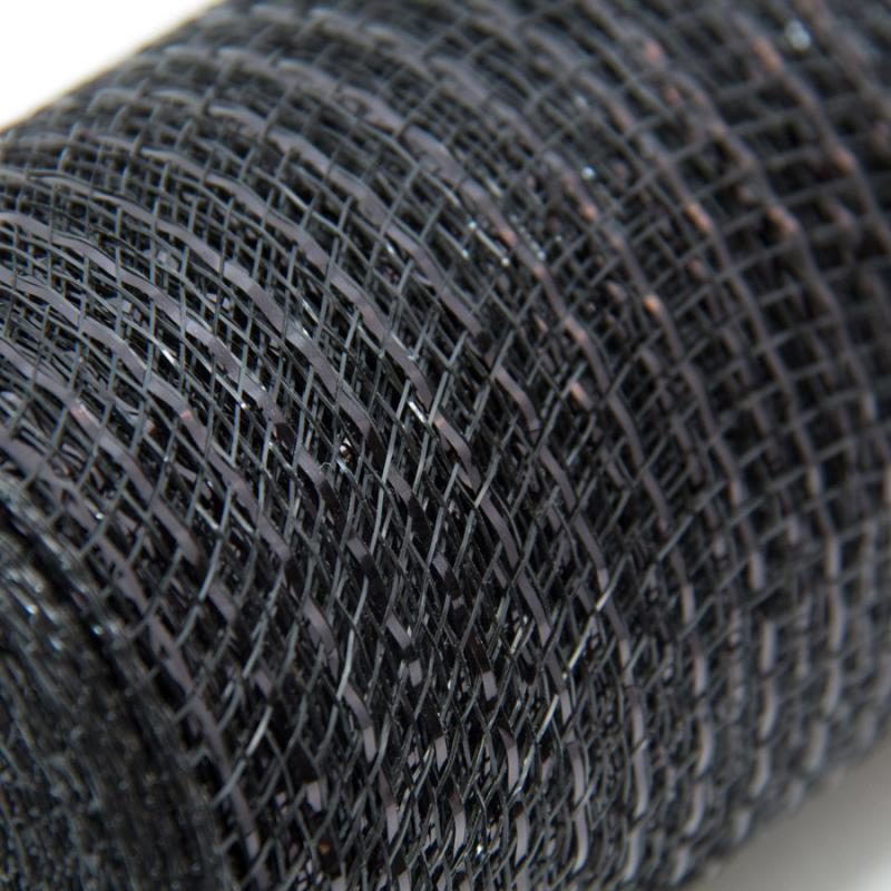 10 in. Metallic Black Deco Mesh Ribbon