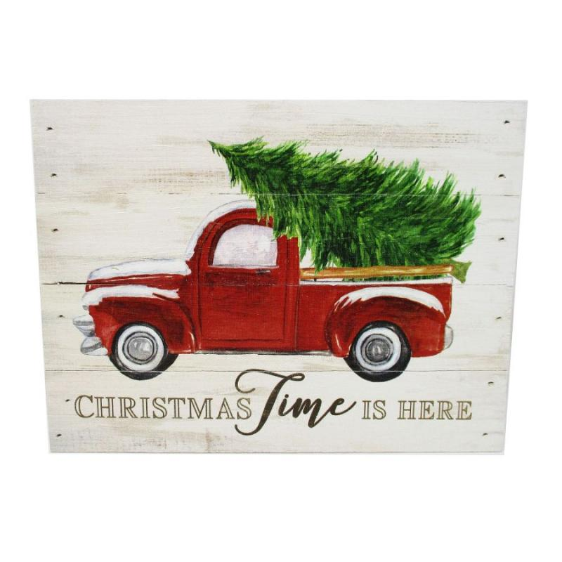 Christmas Time Is Here Red Vintage Truck PGD Wooden Block Sign