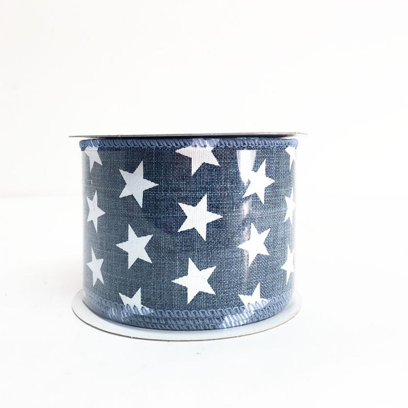 "2.5"" x 10yds Blue and White Star Pattern Ribbon"