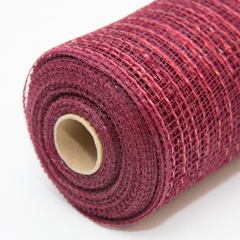 10 In Metallic Burgundy Deco Mesh Ribbon Floral Ribbon