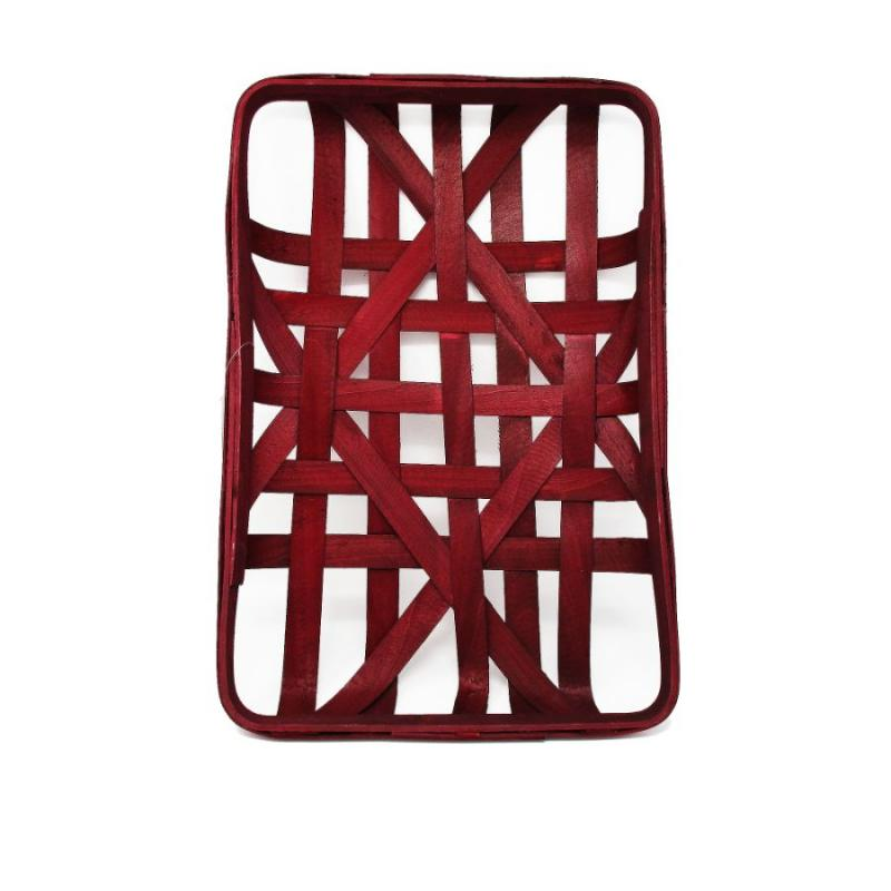 "Tobacco Basket - 12""x18"" Rectangular Dark Red"