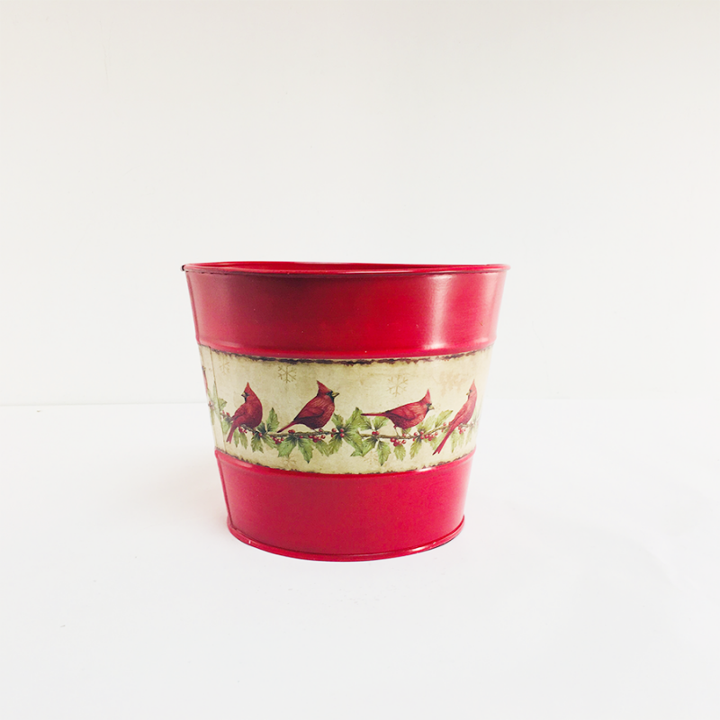 Napco 46152 Red Metal Flower Pot with Cardinals