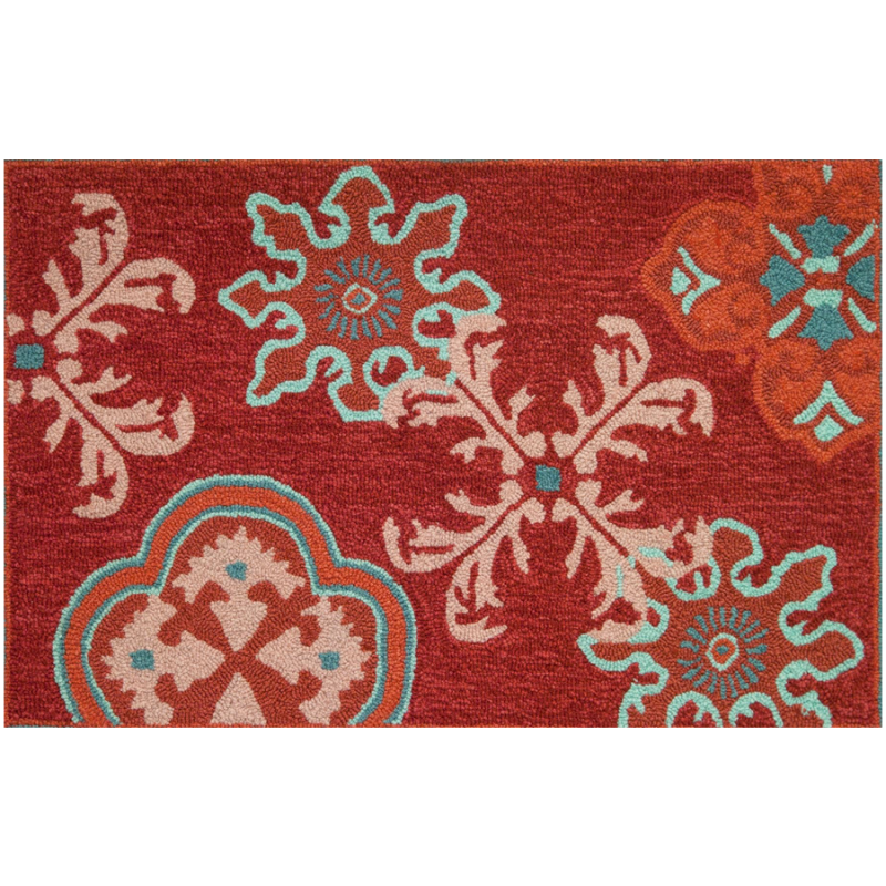 Homefires PY-PA008 Crimson Stamps Rug