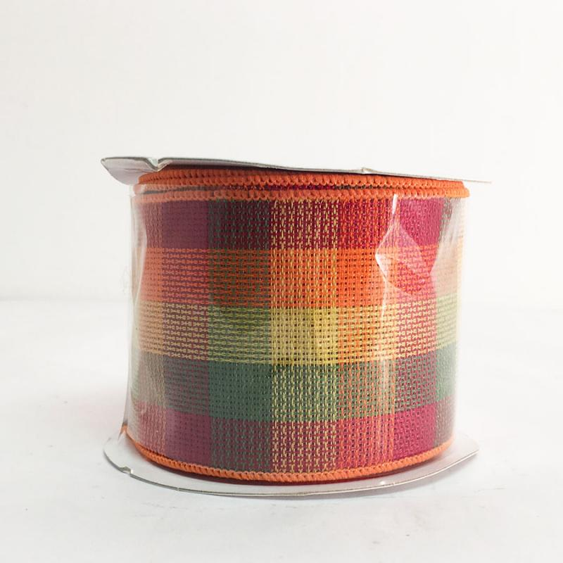 "2.5"" x 10YD Fall Chex Pattern Ribbon"