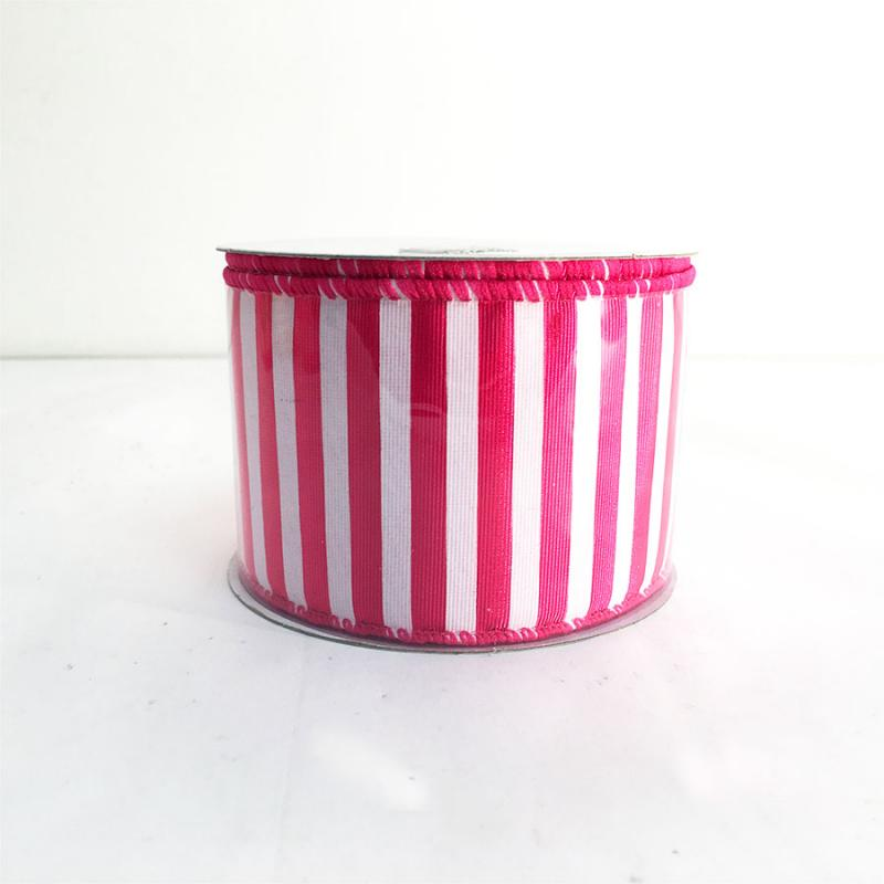 "2.5"" x 10Y Fuchsia and White Striped Ribbon"