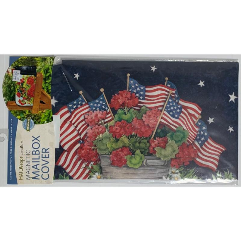 Geraniums & Flags Mailbox Cover