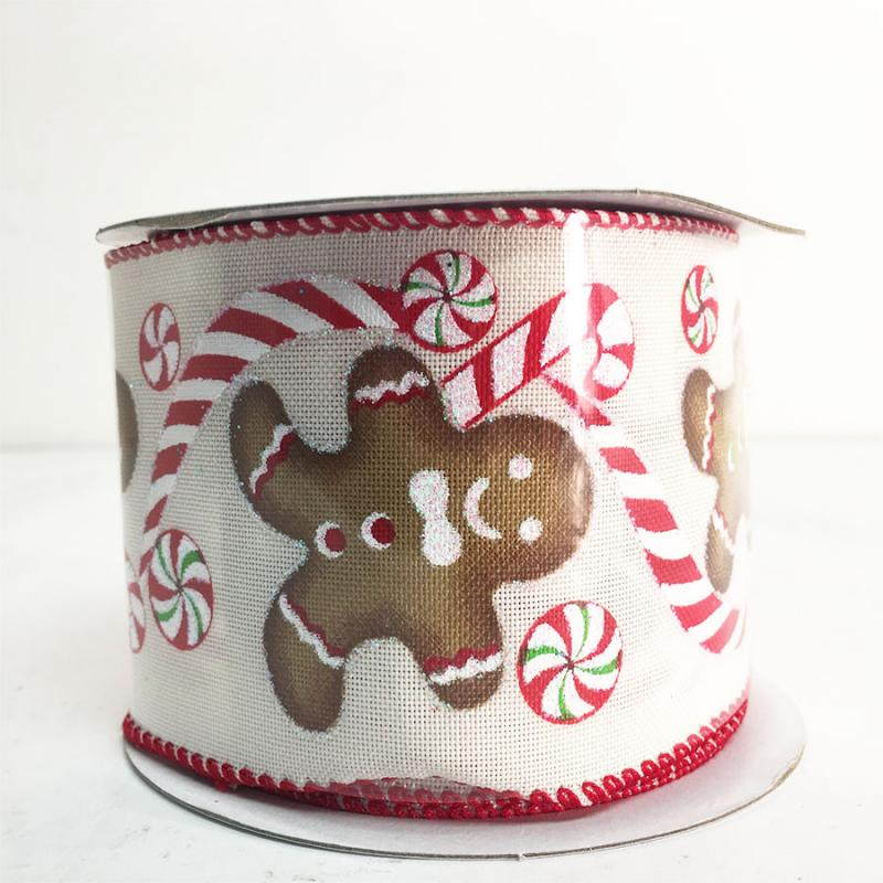 "2.5"" 10Y Gingerbread Man and Candy Cane Ribbon"