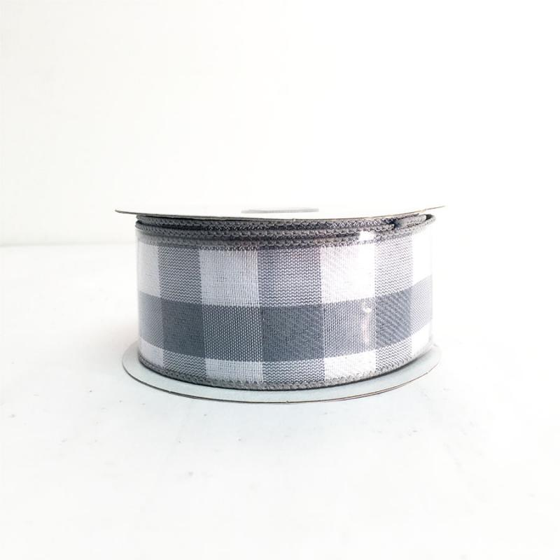 "1.5"" x 10Y Gray and White Chex Ribbon"