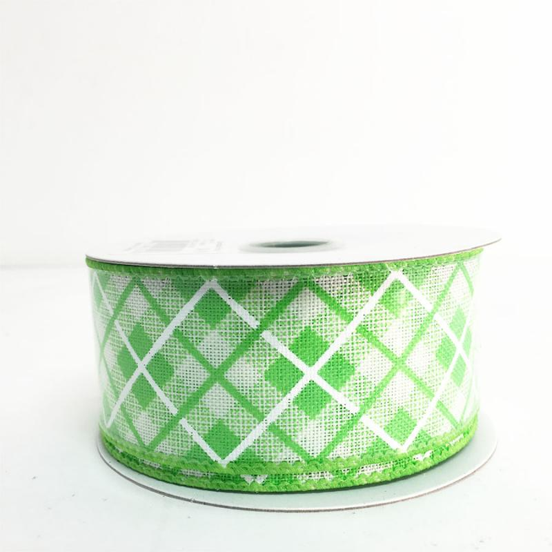 "1.5"" x 10Y Green Argyle Ribbon"