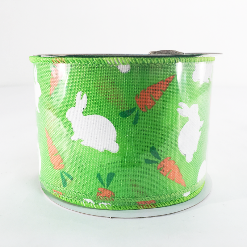 Jascotina 2.5 x 10 YD Green Ribbon with Bunnies and Carrots