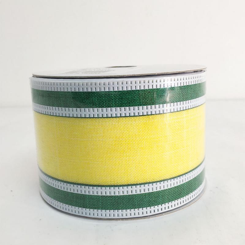 "2.5"" x 10YD Green and Yellow Ribbon"