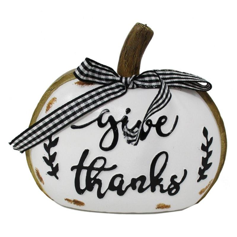 Black and White Pumpkin Decor - Give Thanks