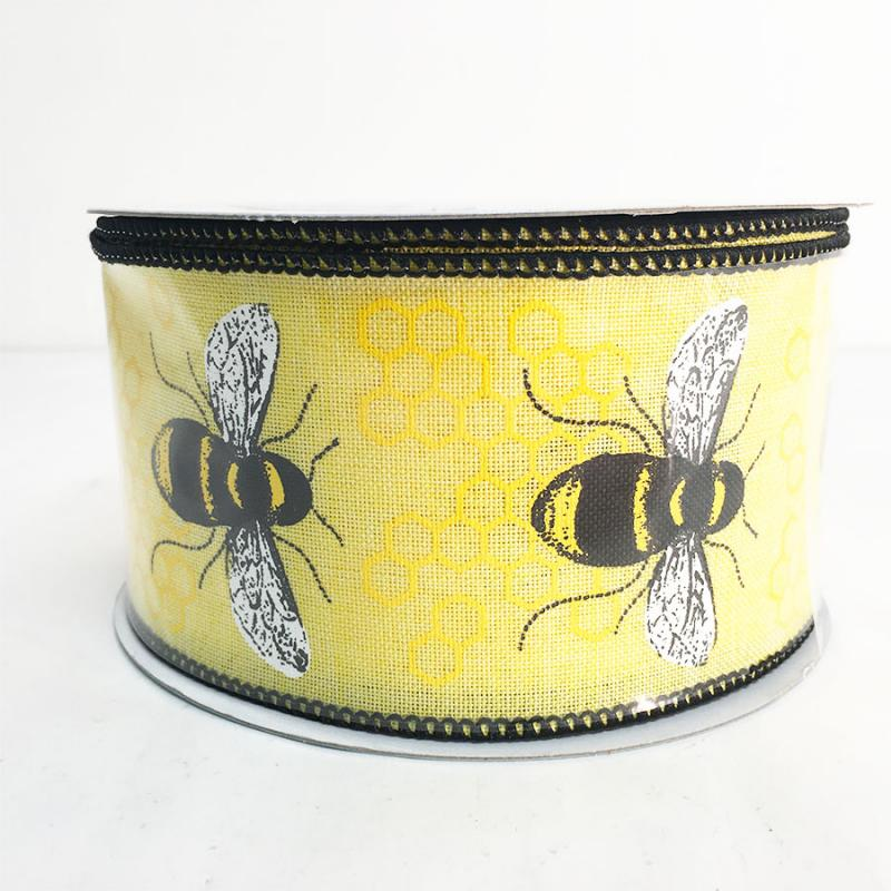 2.5 x 10YD Honeybee Linen Ribbon