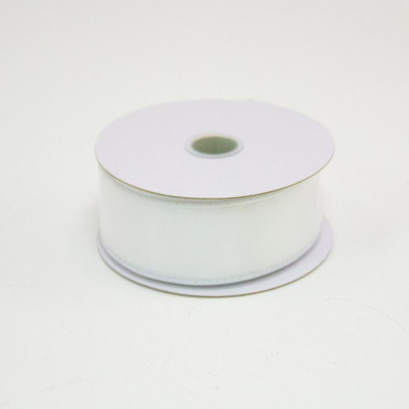 1 1/2 in. (#9) White Wired Edge Satin Ribbon