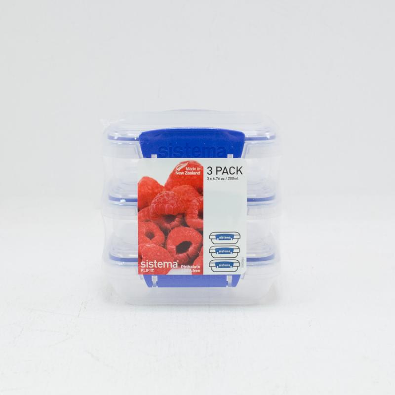 Set of 3 - 200ml Klip It Containers