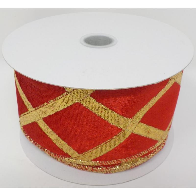 "2.5""x10y Rich Red Velvet Gold Embossed Diamond Ribbon"