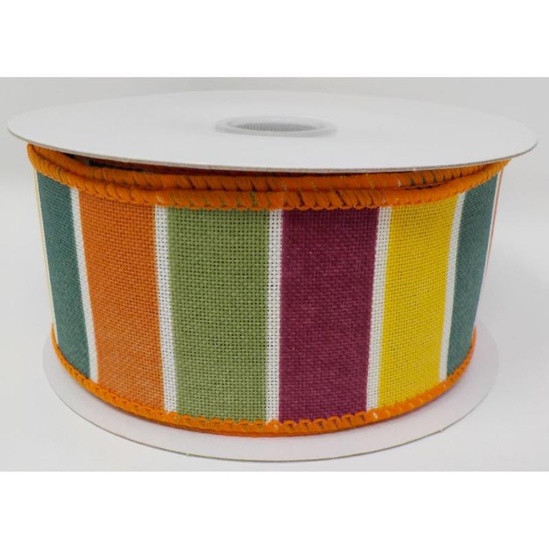 "1.5""x10yd Teal/Plum/Yellow/Green Frida Stripe Fall Ribbon"