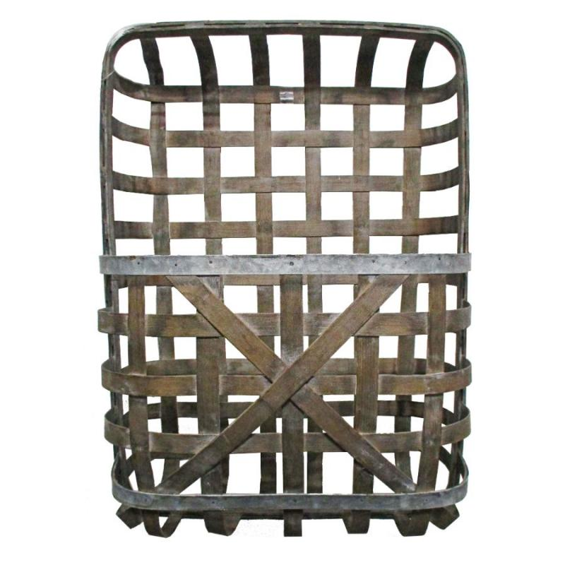 "Tobacco Basket with Pocket - 25"" Gray with Metal Detail"