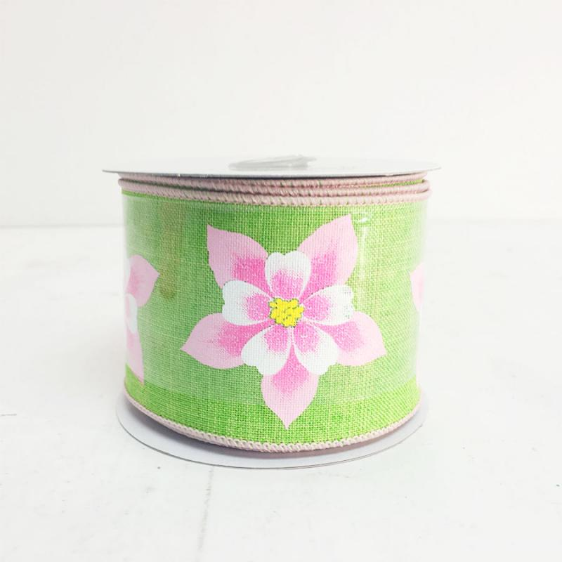 "2.5"" x 10yds Lime and Pink Hibiscus Flower Ribbon"