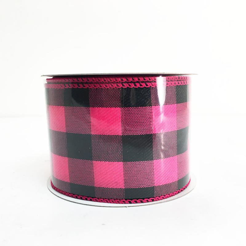 "2.5"" x 10yds Magenta and Black Chex Ribbon"
