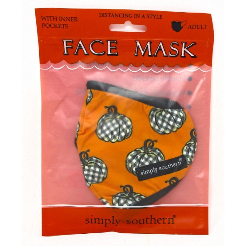 Simply Southern Black and White Buffalo Plaid Pumpkins Adult Mask
